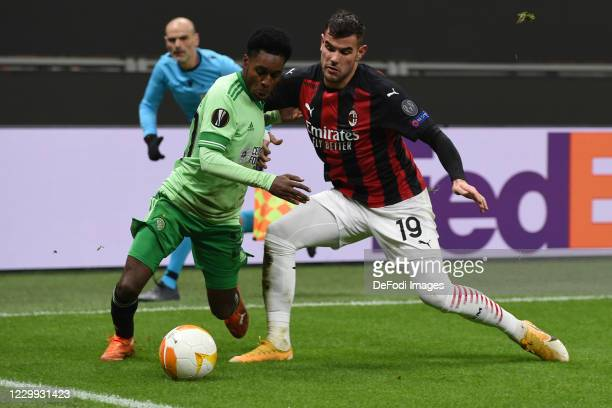 Jeremie Frimpong of FC Celtic Glasgow and Theo Hernandez of AC Milan battle for the ball during the UEFA Europa League Group H stage match between AC...