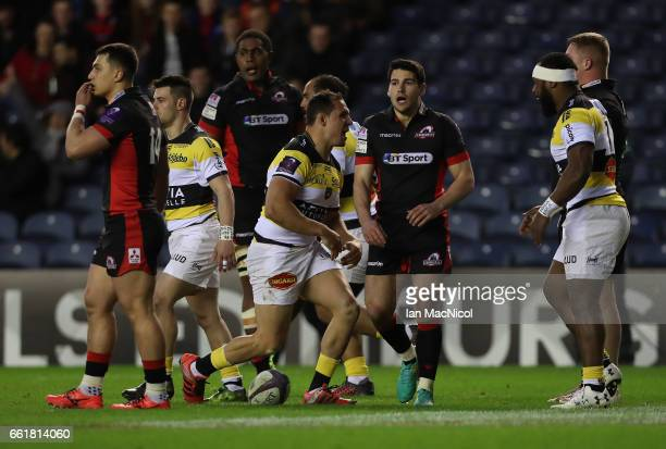 Jeremie Maurouard of La Rochelle celebrates scoring the openingn try during The European Challenge Cup match between Edinburgh and La Rochelle at...