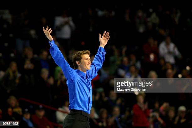 Jeremy Abbott acknowledges the crowd as he takes the ice before the medal ceremony for the men's event during the US Figure Skating Championships at...