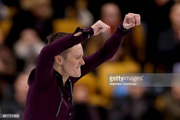 Jeremy Abbott celebrates at the end of his routine while skating in the short program during the Prudential US Figure Skating Championships at TD...