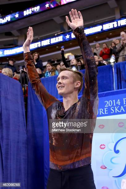 Jeremy Abbott celebrates in the kiss and cry after skating in the free skate during the Prudential US Figure Skating Championships at TD Garden on...