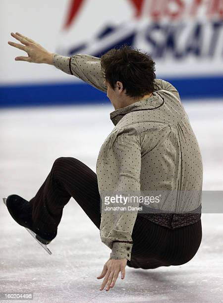 Jeremy Abbott falls to the ice while competing in the Mens Free Skate during the 2013 Prudential US Figure Skating Championships at CenturyLink...