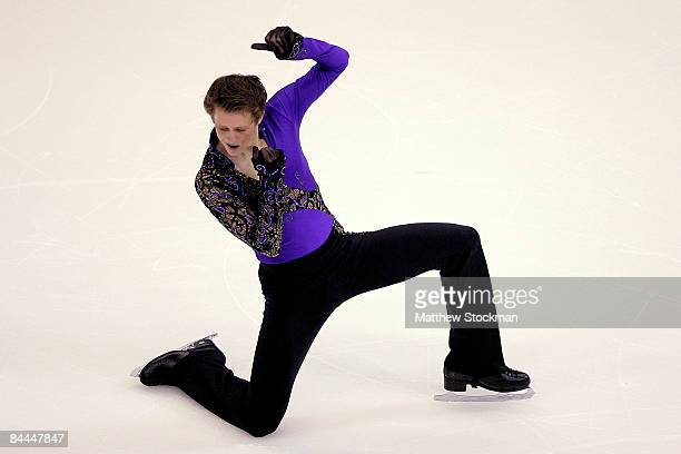 Jeremy Abbott finishes his routine in the Free Skate during the AT&T US Figure Skating Championships at Quicken Loans Arena January 25, 2009 in...