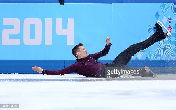 Jeremy Abbott of the United States hits the wall while competing during the Men's Figure Skating Short Program on day 6 of the Sochi 2014 Winter...