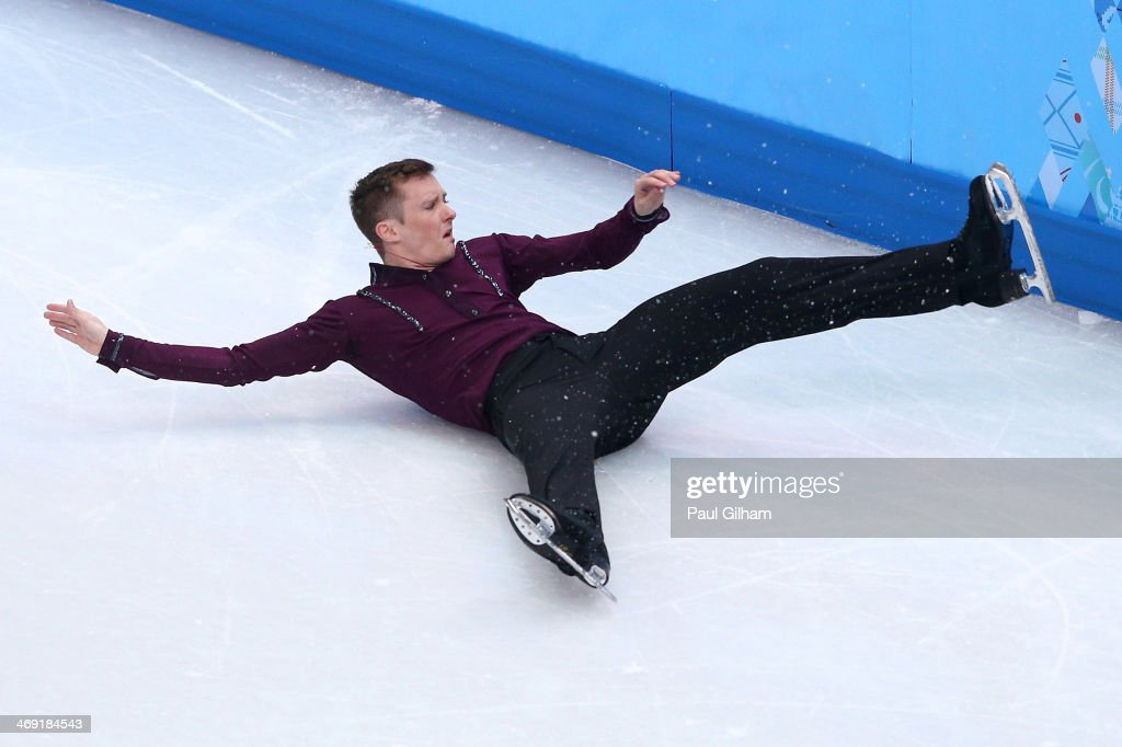 Jeremy Abbott of the United States hits the wall while competing during the Men's Figure Skating Short Program on day 6 of the Sochi 2014 Winter Olympics at the at Iceberg Skating Palace on February 13, 2014 in Sochi, Russia.