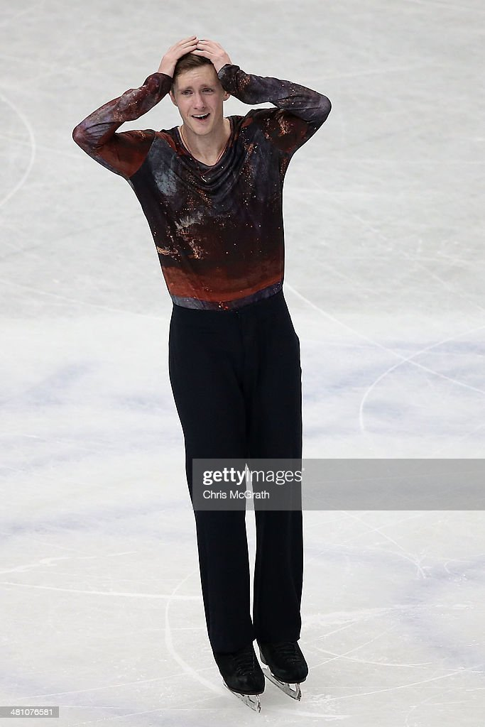 Jeremy Abbott of the USA reacts after finishing his routine in the Men's Free Skating during ISU World Figure Skating Championships at Saitama Super Arena on March 28, 2014 in Saitama, Japan.