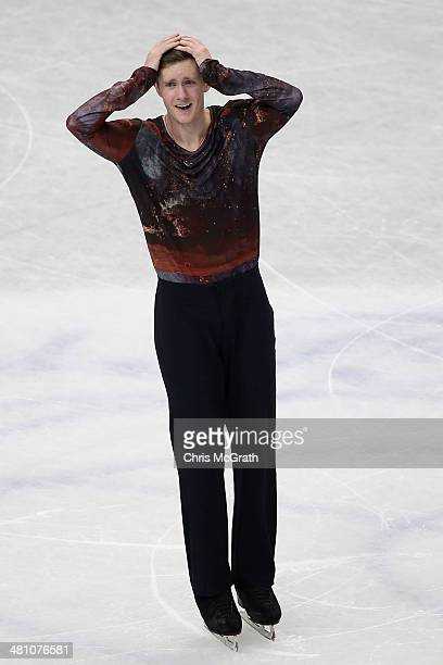 Jeremy Abbott of the USA reacts after finishing his routine in the Men's Free Skating during ISU World Figure Skating Championships at Saitama Super...