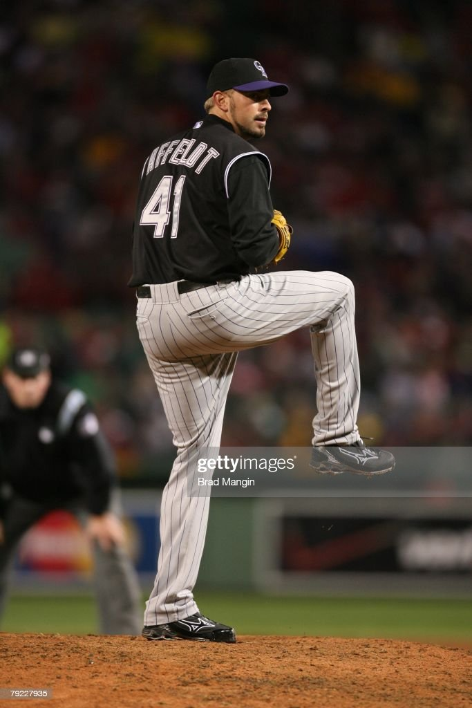 Jeremy Affeldt of the Colorado Rockies prepares to pitch during game one of the World Series against the Boston Red Sox at Fenway Park in Boston, Massachusetts on October 24, 2007. The Red Sox defeated the Rockies 13-1.