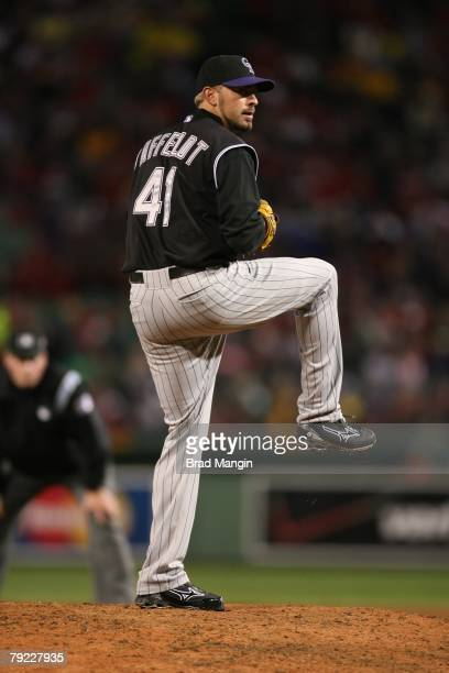 Jeremy Affeldt of the Colorado Rockies prepares to pitch during game one of the World Series against the Boston Red Sox at Fenway Park in Boston...