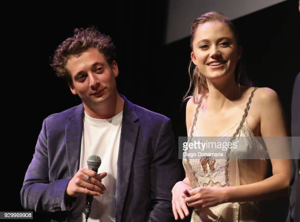"Jeremy Allen White and Maika Monroe speak onstage at the premiere of ""Shotgun"" during SXSW at Stateside Theater on March 9, 2018 in Austin, Texas."