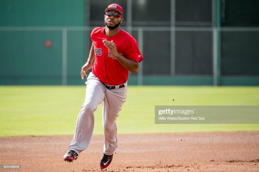 Jeremy Barfield #75 of the Boston Red Sox runs the bases during a team workout on February 21, 2018 at jetBlue Park at Fenway South in Fort Myers, Florida .