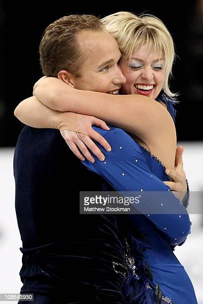 Jeremy Barrett and Caydee Denney finish their routine in the Championship Pairs Free Skate during the US Figure Skating Championships at the...