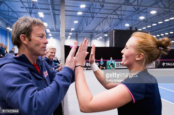 Jeremy Bates Coach of Great Britain and Anna Smith of Great Britain prior to the Europe/Africa Group B match of the Fed Cup by BNP Paribas at the...