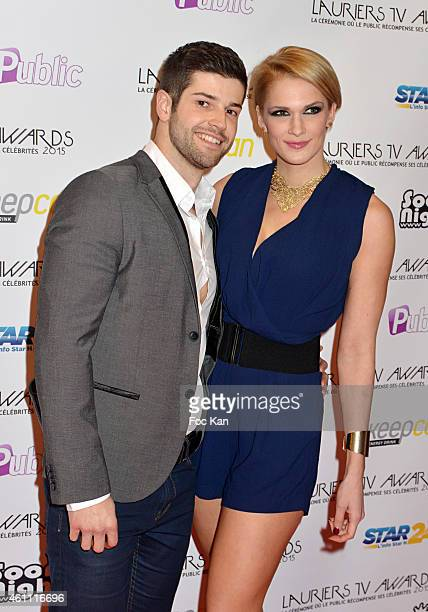 Jeremy Baudoin and Caroline Boutier attend The 'Lauriers TV Awards 2015 Ceremony' Red Carpet Arrivals At La Cigale In Paris on January 06 2015 in...