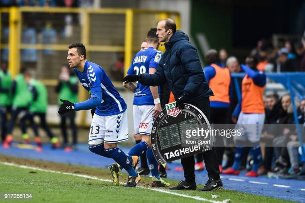 Jeremy Blayac and Jonas Martin of Strasbourg during the Ligue 1 match between Strasbourg and Troyes AC at on February 11 2018 in Strasbourg