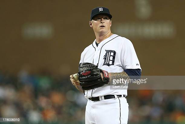 Jeremy Bonderman of the Detroit Tigers pitches in the ninth inning of the game against the Oakland Athletics at Comerica Park on August 26 2013 in...