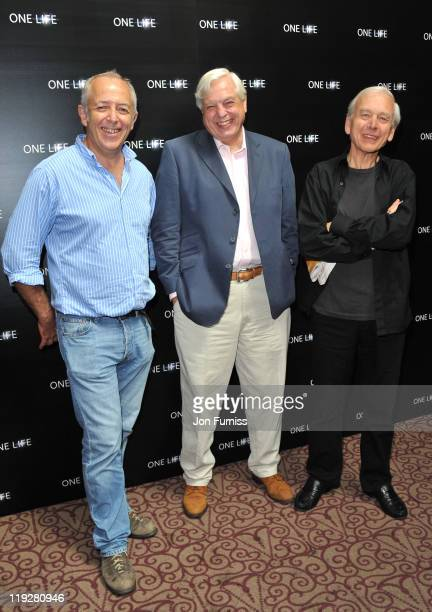 Jeremy Bowen John Simpson and John Humphreys attends a preview screening for One Life a new film from BBC Earth Films voiced by Daniel Craig on July...