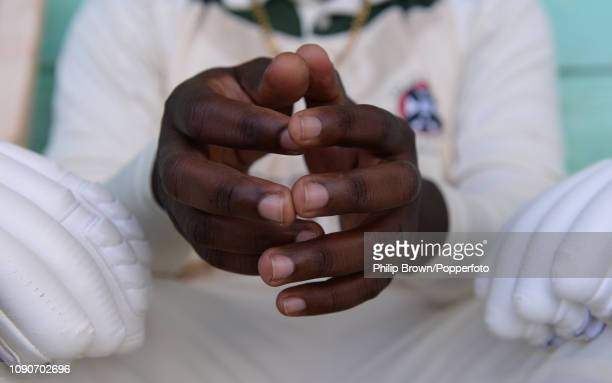 Jeremy Bowen waits for his turn to bat during a twentyfive over match at the Isolation Cavaliers Sports Club on January 27 2019 in St Andrew Barbados