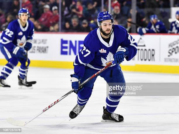 Jeremy Bracco of the Toronto Marlies skates against the Laval Rocket during the AHL game at Place Bell on December 22 2018 in Laval Quebec Canada The...