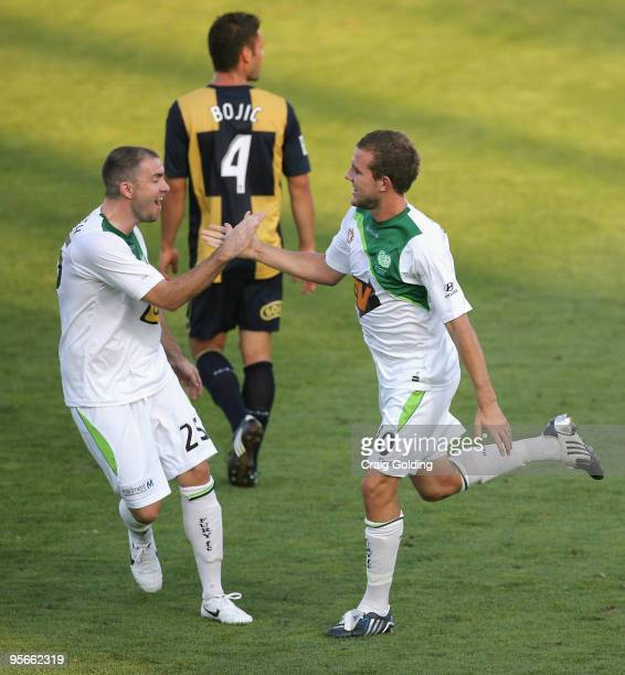 Jeremy Brockie of the Fury celebrates with team mate Grant Smith after scoring during the round 22 Aleague match between the Central Coast Mariners...