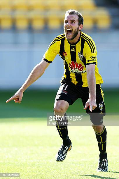 Jeremy Brockie of the Phoenix celebrates after scoring a goal during the round 15 A-League match between the Wellington Phoenix and Brisbane Roar at...