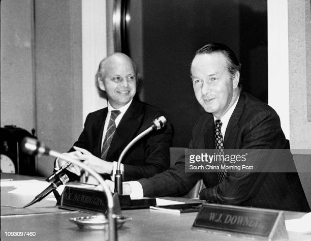 Jeremy Brown , Managing Director of Jardine, Matheson and Co, and Chairman David Newbigging at a press conference. 17OCT78