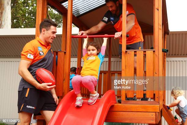 Jeremy Cameron and Shane Mumford interact with children during a Greater Western Sydney Giants AFL media opportunity to launch their ÔLittle GIANTSÔ...