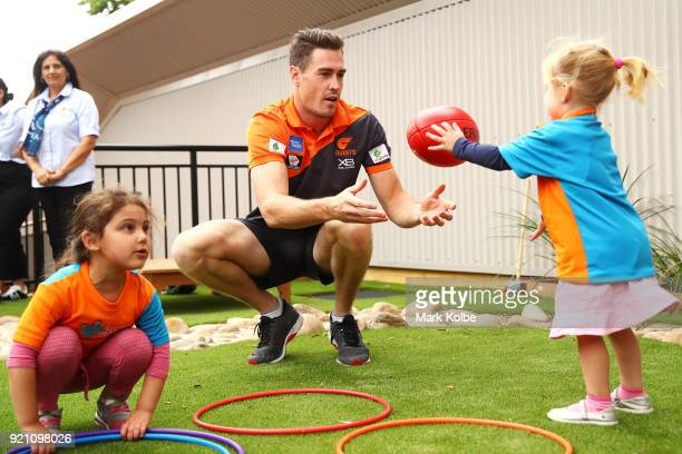 Jeremy Cameron interacts with children during a Greater Western Sydney Giants AFL media opportunity to launch their ÔLittle GIANTSÔ early education...