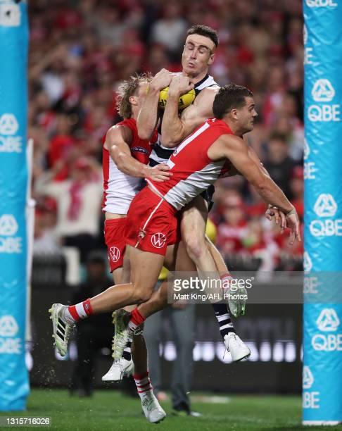 Jeremy Cameron of the Cats takes the ball late in the match before being denied a mark during the round seven AFL match between the Sydney Swans and...