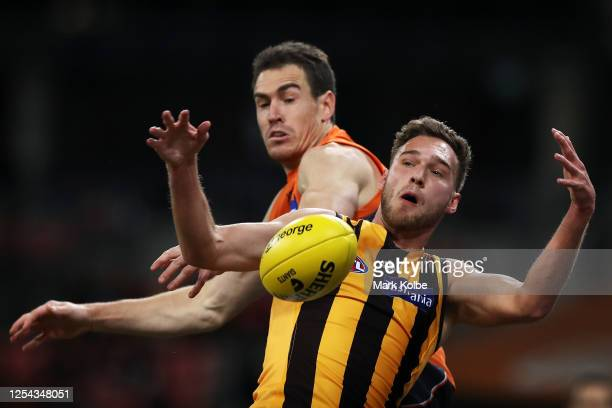 Jeremy Cameron of the Giants and Jack Scrimshaw of the Hawks contest the mark during the round 5 AFL match between the Greater Western Sydney Giants...