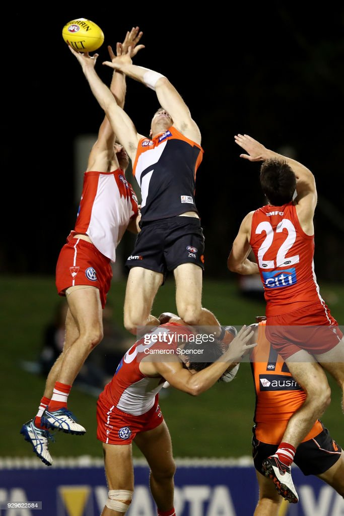 Jeremy Cameron of the Giants attempts a mark during the JLT Community Series AFL match between the Sydney Swans and the Greater Western Sydney Giants at Blacktown International Sportspark on March 9, 2018 in Sydney, Australia.