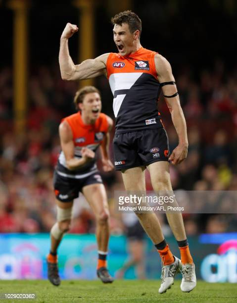 Jeremy Cameron of the Giants celebrates a goal during the 2018 AFL Second Elimination Final match between the Sydney Swans and the GWS Giants at the...