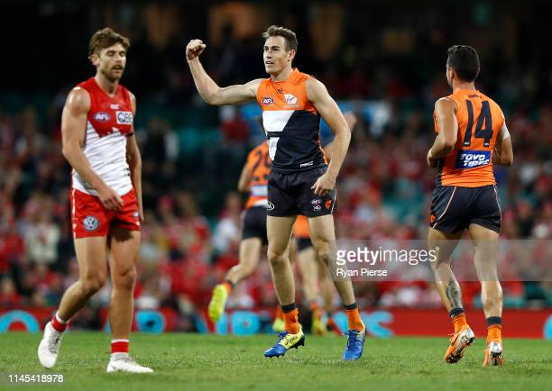 Jeremy Cameron of the Giants celebrates a goal during the round 6 AFL match between the Sydney Swans and GWS Giants at Sydney Cricket Ground on April...