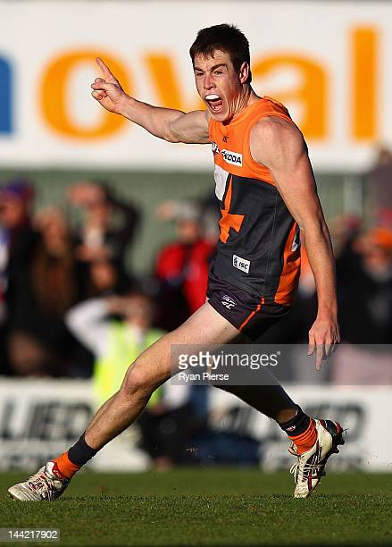 Jeremy Cameron of the Giants celebrates after kicking a goal during the round seven AFL match between the Greater Western Sydney Giants and the Gold...