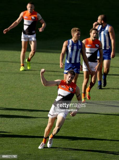 Jeremy Cameron of the Giants celebrates after scoring a goal during the round three AFL match between the North Melbourne Kangaroos and the Greater...