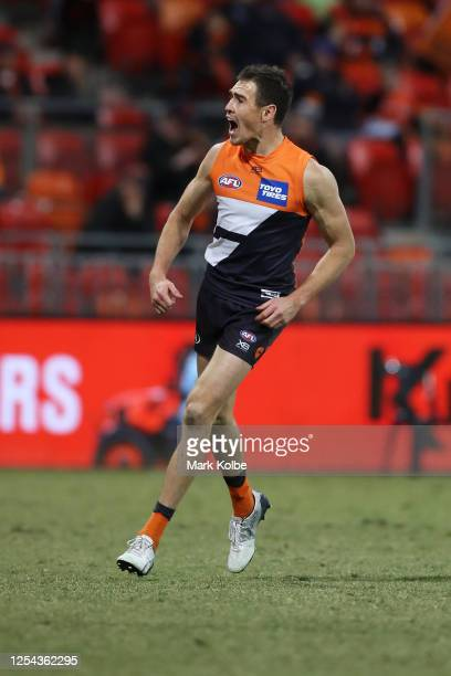 Jeremy Cameron of the Giants celebrates kicking a goal during the round 5 AFL match between the Greater Western Sydney Giants and the Hawthorn Hawks...