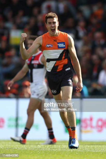 Jeremy Cameron of the Giants celebrates kicking a goal during the round seven AFL match between the Greater Western Sydney Giants and the St Kilda...