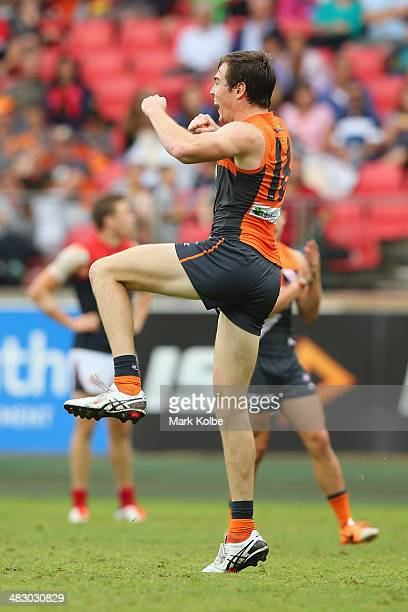 Jeremy Cameron of the Giants celebrates kicking a goal during the round three AFL match between the Greater Western Sydney Giants and the Melbourne...