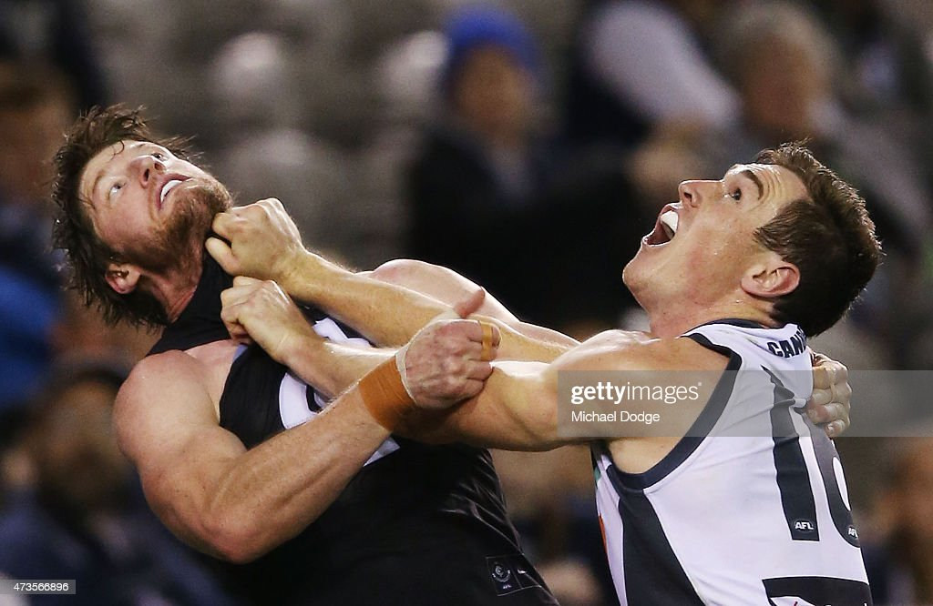 Jeremy Cameron of the Giants (R) competes for the ball against Sam Rowe of the Blues during the round seven AFL match between the Carlton Blues and the Greater Western Sydney Giants at Etihad Stadium on May 16, 2015 in Melbourne, Australia.