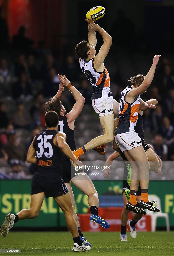 Jeremy Cameron of the Giants competes for the ball during the round seven AFL match between the Carlton Blues and the Greater Western Sydney Giants at Etihad Stadium on May 16, 2015 in Melbourne, Australia.