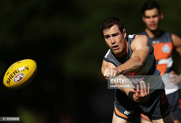 Jeremy Cameron of the Giants handpasses the ball during a Greater Western Sydney Giants AFL training session at Drummoyne Oval on March 3 2016 in...