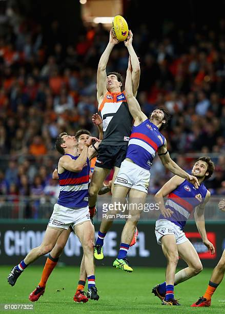 Jeremy Cameron of the Giants marks during the AFL First Preliminary Final match between the Greater Western Sydney Giants and the Western Bulldogs at...