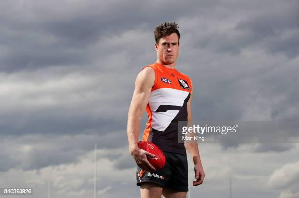 Jeremy Cameron of the Giants poses after a Greater Western Sydney Giants AFL training session at WestConnex Centre on August 29 2017 in Sydney...