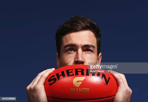 Jeremy Cameron of the Giants poses during a Greater Western Sydney Giants AFL portrait session on May 23 2016 in Sydney Australia