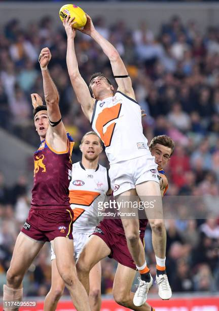 Jeremy Cameron of the Giants takes a mark during the AFL Semi Final match between the Brisbane Lions and the Greater Western Sydney Giants at The...