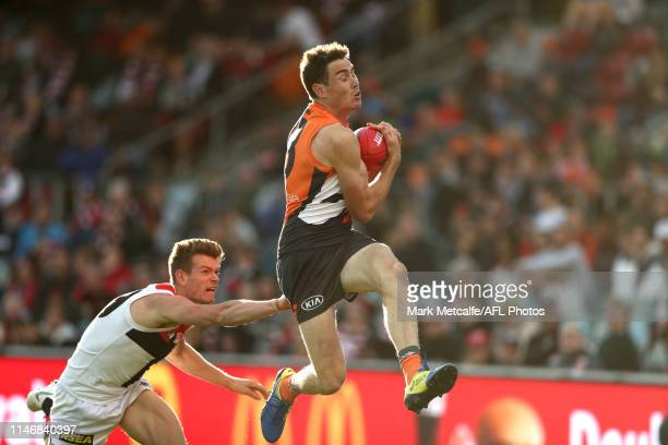 Jeremy Cameron of the Giants takes a mark during the round seven AFL match between the Greater Western Sydney Giants and the St Kilda Saints at...