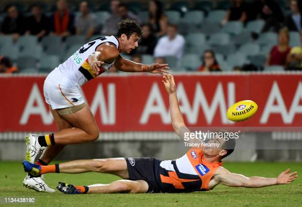 Jeremy Cameron of the GWS looses possession during the 2019 JLT Community Series AFL match between the Greater Western Sydney Giants and the Adelaide...