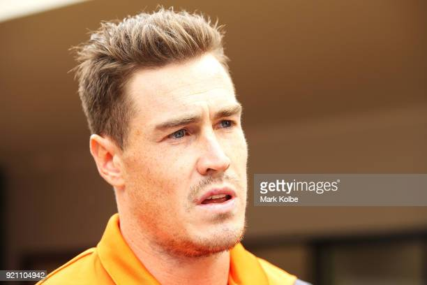 Jeremy Cameron speaks to the media during a Greater Western Sydney Giants AFL media opportunity to launch their ÔLittle GIANTSÔ early education...