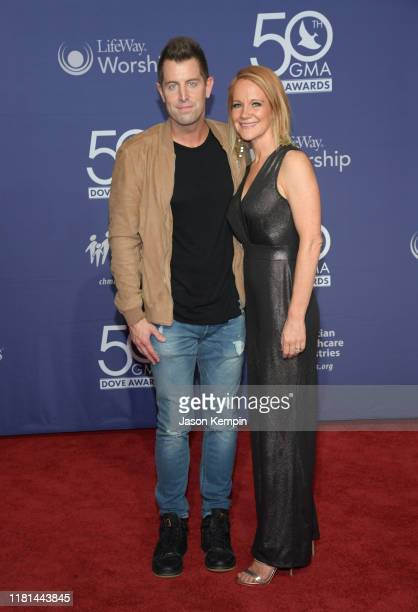 Jeremy Camp and Adrienne Camp attend the 50th Annual GMA Dove Awards at Lipscomb University on October 15, 2019 in Nashville, Tennessee.