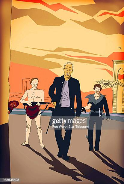 Jeremy Cannon color illustration of three men with guns walking through deserted city street ape peeks out from building